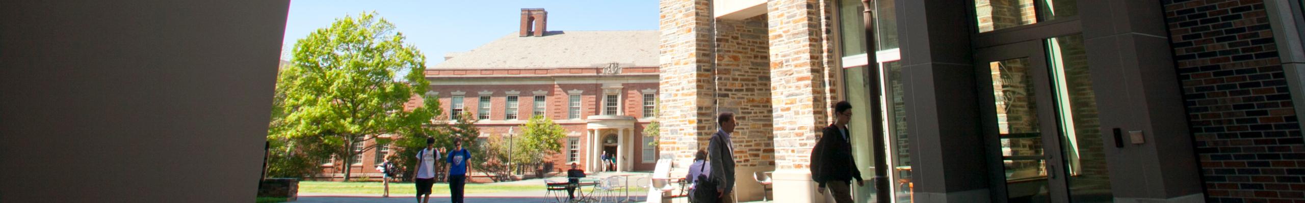 Duke's Hudson Hall seen through an archway