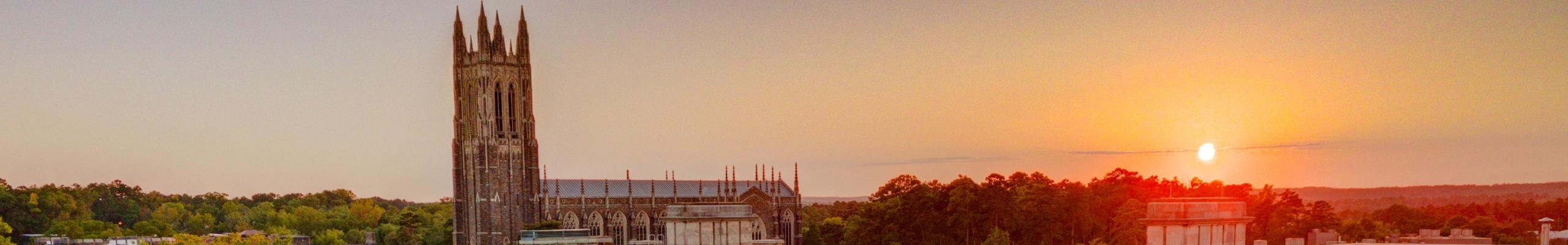Skyline view of Duke Chapel at sunrise.