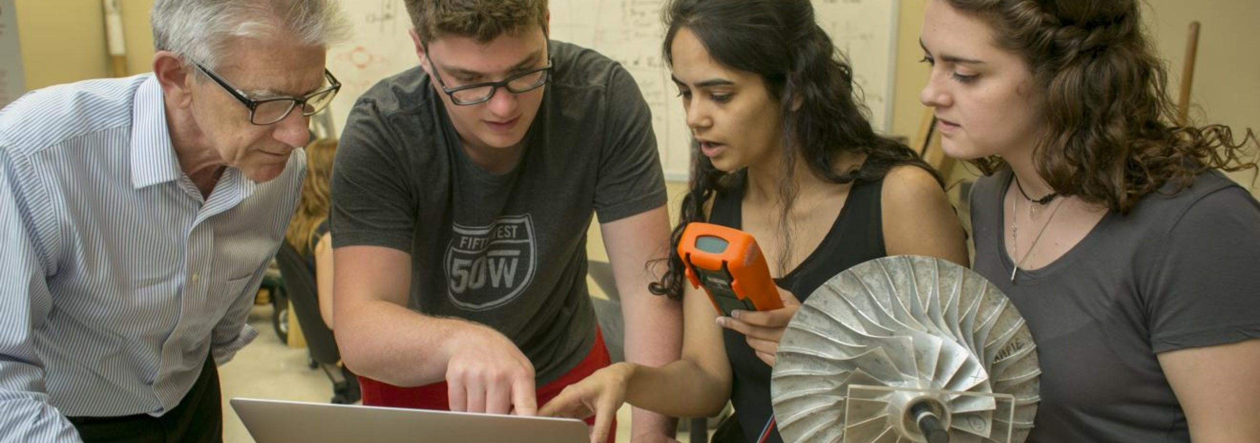 A Duke MEMS professor and students study turbine engineering