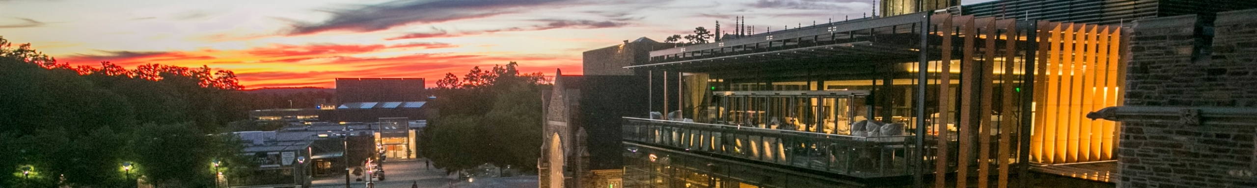 Duke University campus at twilight