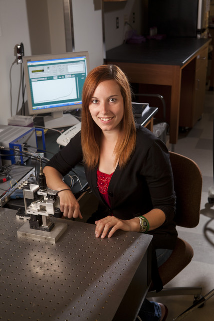 Laura Monson studied DNA nanomechanics with atomic force spectroscopy.