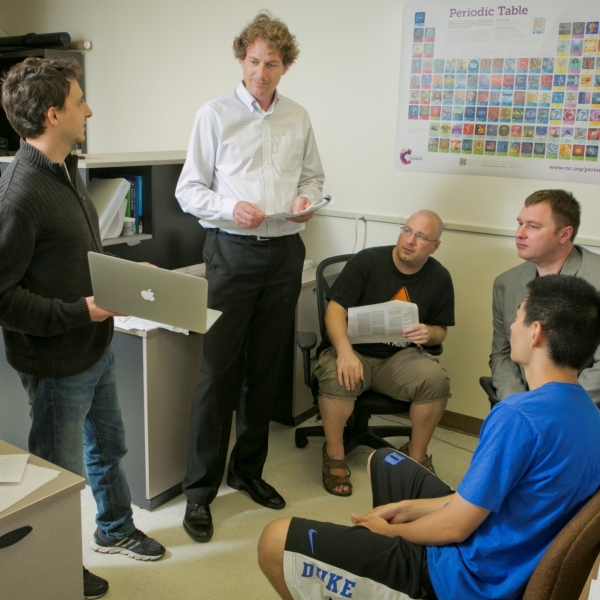 Volker Blum with students and colleagues in computation lab