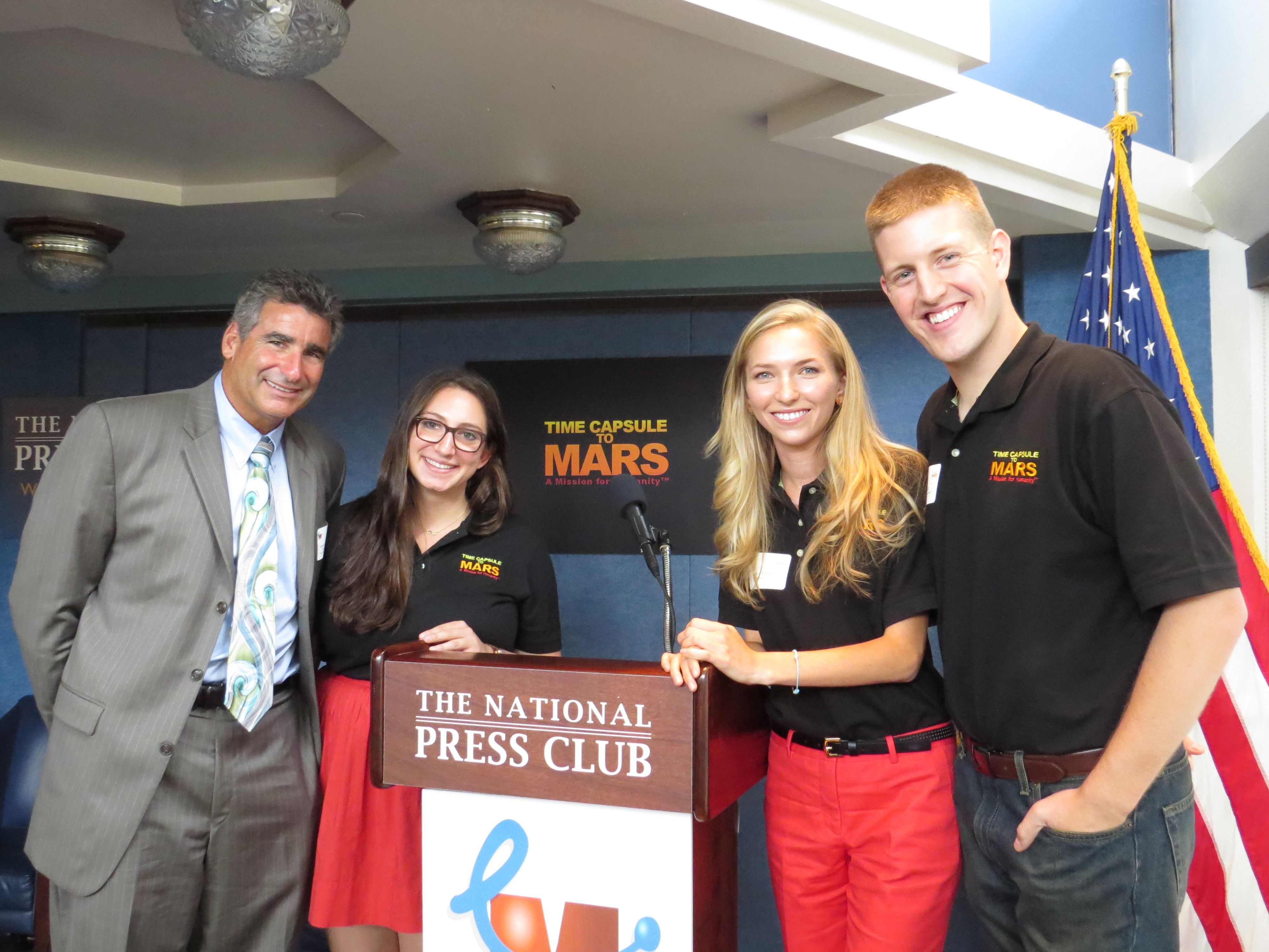 Pratt Dean Tom Katsouleas (left) at the Time Capsule to Mars press conference with Duke students (from left to right) Lauren Silverstein, social media manager and co-president of the Duke technical team; Emily Briere, mission director; and Jon Tidd, business director.