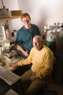 Needham with Mark Dewhirst in Dewhirst's lab, during the hey-days of their collaboration in 2008, that saw the Thermal Sensitive Liposome, (commercially named by Celsion as Thermodox) reach human clinical trials.